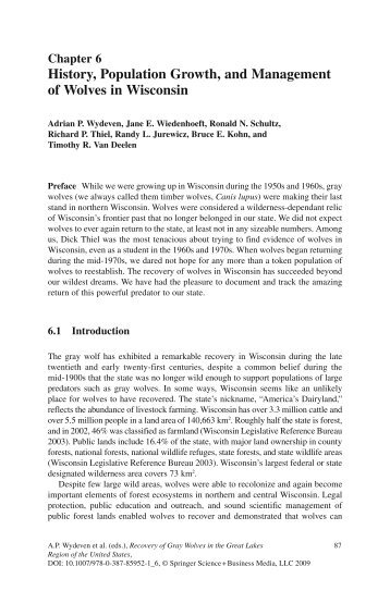 History, Population Growth, and Management of Wolves in Wisconsin