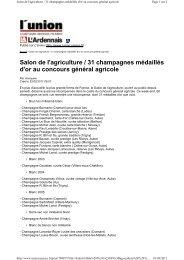 31 médailles d'Or à Paris - Champagne info