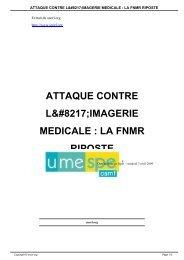 attaque contre l'imagerie medicale : la fnmr riposte - SNORL