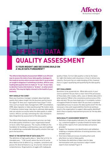 AFFECTO DATA QUALITY ASSESSMENT