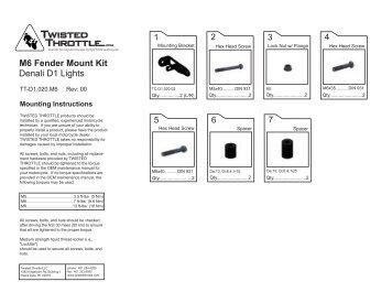 Fenders • Mounting Kits & Brackets Hangers • Light Bars