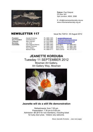 newsletter 117, issue 7, august 30, 2012 - Mosman Art Society
