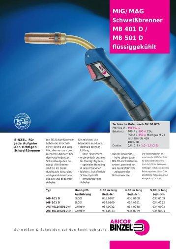 MIG/MAG Schweißbrenner MB 401 D / MB 501 D ... - dpiaca