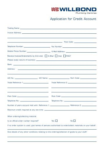 Application for Credit Account - Willbond