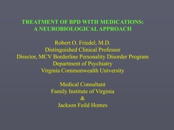 treatment of bpd with medications: a neurobiological approach