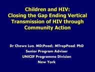 Ending Vertical Transmission of HIV through Community Action