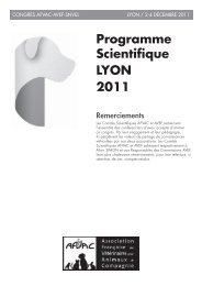 Programme Scientifique LYON 2011 - AFVAC