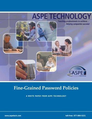 Fine-Grained Password Policies - ASPE