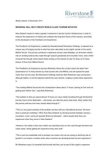 Media release - Destination Fiordland
