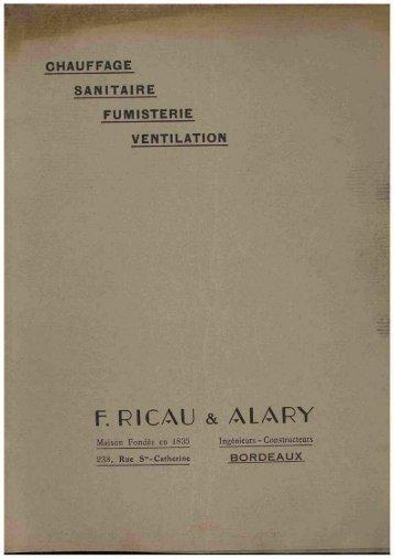 RICAU & ALARY, chauffage, sanitaire. 1940 - Ultimheat