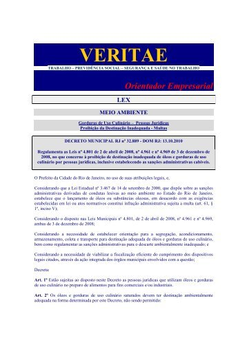 Decreto Municipal RJ 32 889 10_Gorduras de Uso ... - Veritae