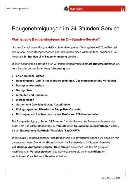 Baugenehmigungen Im 24 Stunden Service Stadt Koln