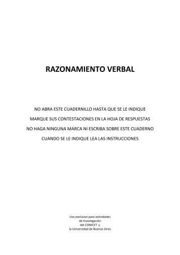 RAZONAMIENTO VERBAL - Aidep.org