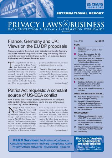 View newsletter sample... - Privacy Laws & Business