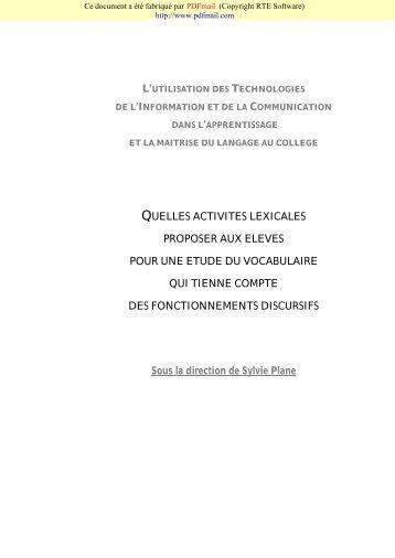L'UTILISATION DES TECHNOLOGIES - WebLettres