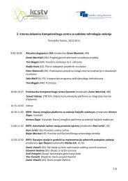 2. interna delavnica Kompetenčnega centra za sodobne ... - TVP