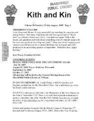 July - August 2005 - Marshfield Area Genealogy Group