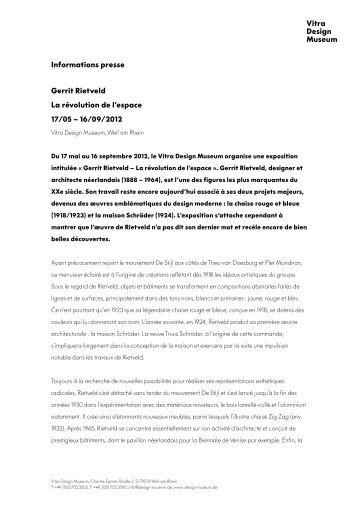 Informations presse Gerrit Rietveld La révolution de ... - Bueroszene.ch