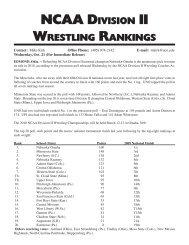 NCAA DivisioN ii WrestliNg rANkiNgs