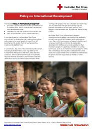 Policy on International Development - Australian Red Cross