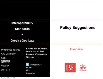 Prodromos Tsiavos, Interoperability Standards + Greek eGov Law