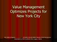 Value Management Optimizes Projects for New York ... - SCAV - CSVA
