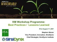 KM Workshop Programme: Best Practices / Lessons Learned