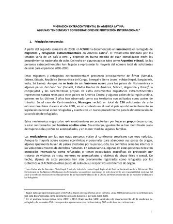 Migración Extracontinental en América latina: Algunas ... - Acnur