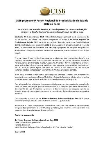 CESB promove 4º Fórum Regional de ... - Fundação Bahia
