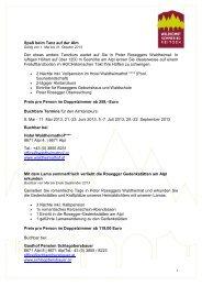 Sommerpackages 2013 - Waldheimat Semmering Veitsch