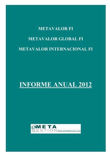 INFORME ANUAL 2012 - Metagestión