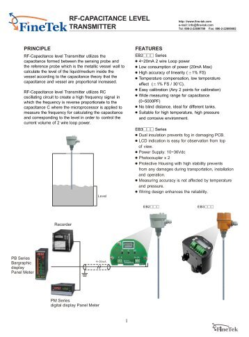 RF-CAPACITANCE LEVEL TRANSMITTER - Marktechnical.nl