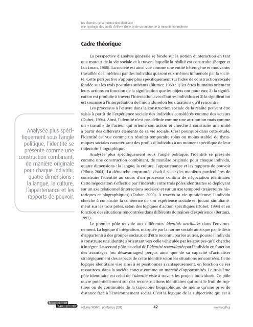 Les chemins de la construction identitaire : une typologie des ... - acelf
