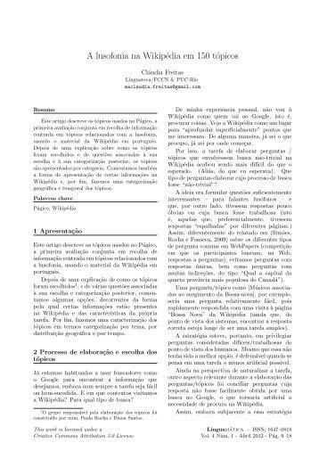 A lusofonia na Wikipédia em 150 tópicos - Linguamática