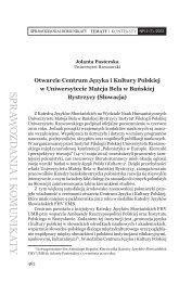 Otwarcie Centrum Języka i Kultury Polskiej w Uniwersytecie Mateja ...