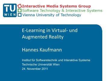 Habilitationskolloquium Hannes Kaufmann Applications of Mixed ...