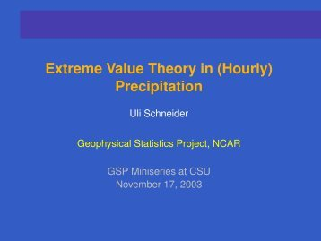 Extreme Value Theory in (Hourly) Precipitation - IMAGe
