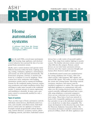 REPORTER Home automation systems - ASHI