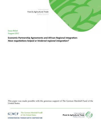 Economic Partnership Agreements And African Regional Integration .