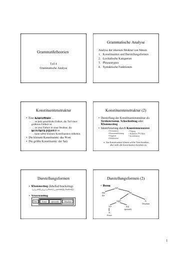 Grammatiktheorien Grammatische Analyse Konstituentenstruktur ...