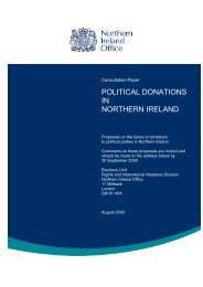 POLITICAL DONATIONS IN NORTHERN IRELAND - CAIN