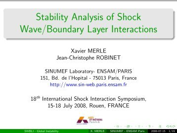 Stability Analysis of Shock Wave/Boundary Layer Interactions - Jean ...