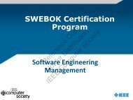 Software Engineering Management SWEBOK Certification Program