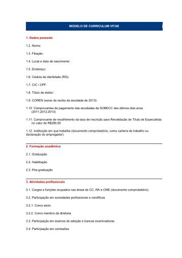 Modelo Do Curriculum Vitae 27 02 Pages Itpack