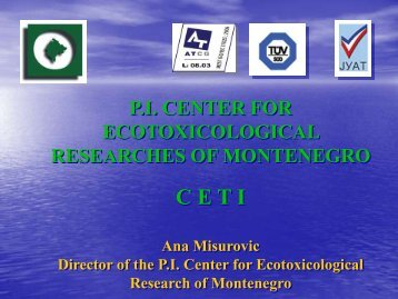 center for ecotoxicological research of montenegro - Western ...