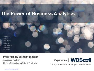 The Power of Business Analytics - Professional Investment Services