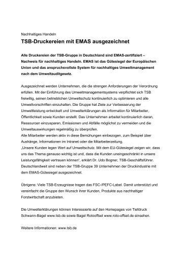 Tsb-Druckereien mit EMAS ausgezeichnet