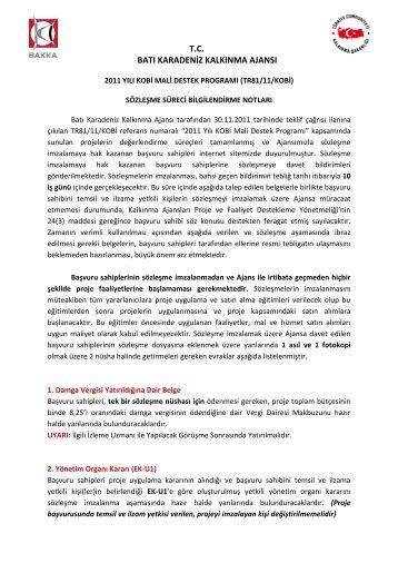 i-) sözleşme belgeleri açıklama - Batı Karadeniz Kalkınma Ajansı