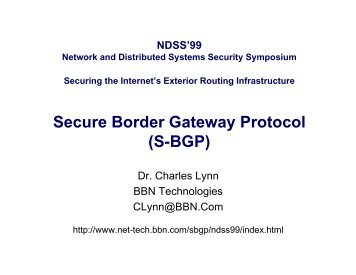 Secure Border Gateway Protocol (S BGP)
