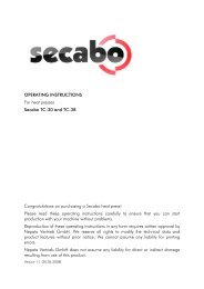 OPERATING INSTRUCTIONS For heat presses Secabo TC-30 and ...